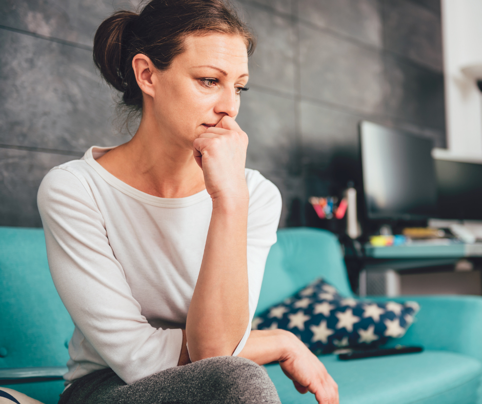 Woman with reopening anxiety